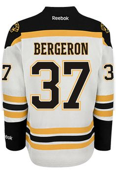 Boston Bruins Patrice BERGERON #37 *A* Official Away Reebok Premier Replica NHL Hockey Jersey (HAND SEWN CUSTOMIZATION)