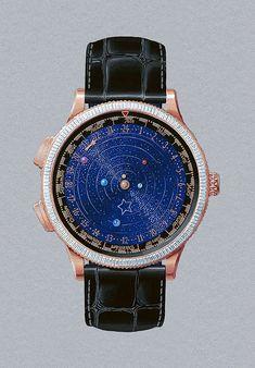 Van Cleef & Arpels Midnight Planétarium Poetic Complication With A Starry Night Dial - Lux Pursuits Van Cleef Arpels, Baguette, Watch Brands, Luxury Watches, Close Up, Watches For Men, Vans, Accessories, Swords