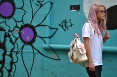 White and pink leather backpack by Grafea