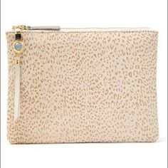 lizzie fortunato Bags | Lizzie Fortunato Gold Leopard Front Row Clutch | Poshmark Blue Charm, Front Row, White Leather, The Row, Polka Dots, Outfit, Gold, Bags, Things To Sell