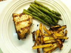 Marinated swordfish!  This recipe can be used for all phases of the Ideal Protein Weight loss protocol or as a healthy meal for your family.  Served with rutabaga fries and asparagus.