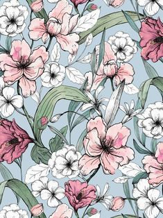 Aquarelle Garden print on Behance - Wallpaper Flower Wallpaper, Pattern Wallpaper, Wallpaper Backgrounds, Art And Illustration, Art Illustrations, Pattern Art, Print Patterns, Impression Textile, Aesthetic Iphone Wallpaper