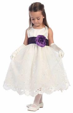 795621f0135 Blossom Ivory Satin Bodice   Embroidered Organza Skirt Detachable Sash. Girls  DressesLilac Flower ...