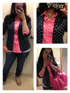 Navy and Pink: polka dot blazer, pink blouse and jeans-Gap Outlet; pink purse- Forever21; iphone5 case- J Crew; necklace- American Eagle.