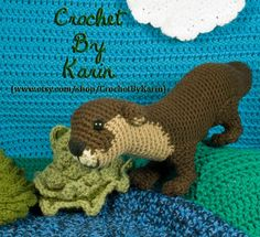 Ravelry: Otter pattern by Karin Athanas Crochet Amigurumi Free Patterns, Crochet Toys, Crochet Projects, Craft Projects, River Otter, Tsumtsum, Dinosaur Stuffed Animal, Stuffed Animals, Stuffed Toys