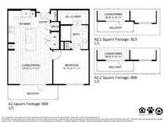 A2 – One Bedroom Apartment / One Bathroom  808 Square Feet