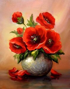 Tablouri de vis va ofera : Anca Bulgaru : Buchetel Cu Anemone - (Just One) Arte Floral, Watercolor Flowers, Watercolor Paintings, Painting Art, Red Poppies, Acrylic Art, Beautiful Paintings, Flower Art, Anemone Flower
