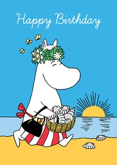 Moomin - Snork Mama on the Beach - Blank Birthday Card Kawaii Illustration, Happy Birthday Illustration, Birthday Greetings, Birthday Wishes, Birthday Cards, Tove Jansson, Birthday Card Design, Hip Hip, Illustrations And Posters