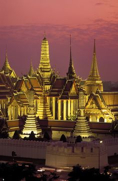 Grand Palace at sunset.  Bangkok, Thailand  #travel