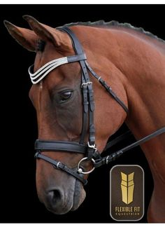 Flexi-Fit Mix & Match Monocrown Bridle Black with Stainless Steel Fittings…