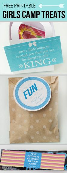 Free Printable treats for Girls Camp or Young Womens. Such cute sayings!