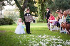flower girl dress | sign bearer | outdoor ceremony decor