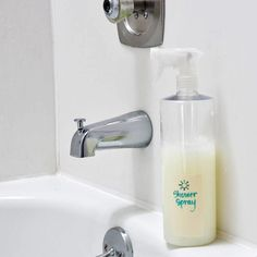 Daily Shower Spray - 1 cup vinegar 1 cup dish soap 1 cup water Essential oil (optional)