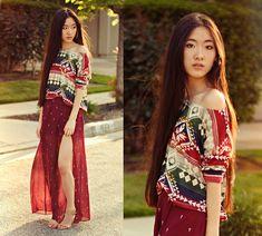 Ellysage Aztec Pullover, Lulus Crosses Maxi Skirt, Nine West Nude Ankle Strap Pumps - TROPICS - Jennifer W