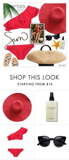 """""""Sunny Essentials"""" by mcheffer ❤ liked on Polyvore featuring Bobbi Brown Cosmetics, Lisa Marie Fernandez and Eugenia Kim"""