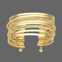 Gold Metal Flat Twisted Cuff 25mm Wide Bangle Bracelet