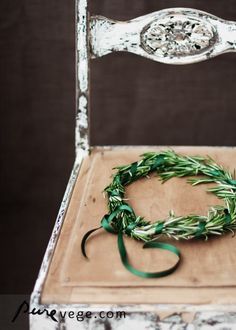 In the Middle Ages, rosemary (for remembrance) was associated with wedding ceremonies. The bride wore a rosemary headpiece and the groom and wedding guests wore sprigs of rosemary. Home Staging, Alice, Aromatic Herbs, Coastal Cottage, Rustic Charm, In Kindergarten, Fairy Lights, Green And Grey, Painted Furniture