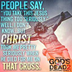 """La gente dice: """"Te tomas está cosa de Jesús demasiado en serio"""". Bueno, no lo sé... Pero Cristo me tomó demasiado en serio cuando murió por mí en esa Cruz. Gracias Señor por amarnos tanto!!"""