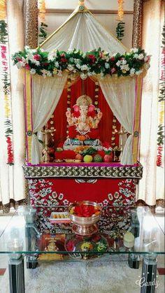 Gauri Decoration, Mandir Decoration, Thali Decoration Ideas, Ganapati Decoration, Diy Diwali Decorations, Festival Decorations, Flower Decorations, Wedding Decorations, Ganpati Decoration Design