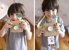 Câmera fotográfica de papelão | 20 brinquedos feitos com materiais baratos que irão estimular a criatividade das crianças