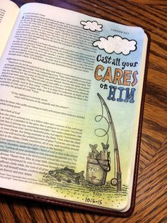 Cast all your cares on Him; journaling Bible art, fishing illustration