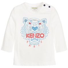 Kenzo Baby Boys White 'Tiger' Cotton Top at Childrensalon.com