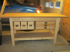 My new (2015) homemade workbench.  Thanks WOOD magazine for the plans!  Awesome bench!
