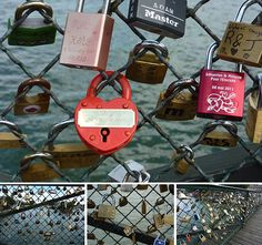 Locks of Love in Paris. Couples write their names on a lock, lock them on the fence and throw the key off the bridge. This symbolizes the couple's eternal love for each other.