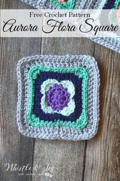 "FREE Crochet Pattern: Aurora Flora Crochet Square - Use these pretty 5"" squares…"