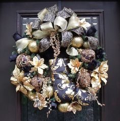 Designer Christmas Wreath Black Gold Stocking Door by LuxeWreaths,