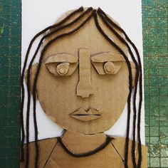 The fifth graders are working on making cardboard self-portraits this week. I'm planning on having the kids ink them up and print them like collagraphs when we are finished. This has been a test of their hand strength. Cutting cardboard is a challenge! #elementaryartteacher #artteachersofinstagram #cardboardart
