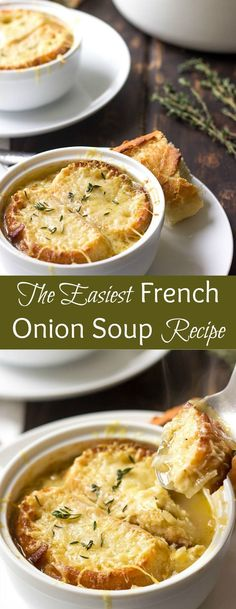 This Easy French Onion Soup is a crowd-pleaser. It's loaded with flavor from caramelised onions and melty cheese. If you ever wanted to learn how to make French Onion Soup, this is the only recipe that you need. via @https://www.pinterest.com/lavenderandmcrn/