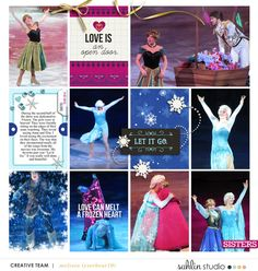 Frozen on Ice digital Project Life layout featuring Project Mouse: Ice by Britt-ish Designs and Sahlin Studio Disney On Ice, Disney Mouse, Digital Project Life, Sisters By Heart, Project Life Layouts, Disney Scrapbook Pages, Toned Paper, Build A Snowman, Digital Scrapbooking