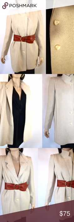 Vintage 80s NEW YORK GIRL Cream Wool Pea Coat Vintage 1980s NEW YORK GIRL Stone Cream Wool Pea Coat Union Made in Usa Size 8 Lovely cream wool coat by NYG New York Girl with pleats on the shoulder. Has a set of pockets. Beautiful pink satin lining with light shoulder pads. Shoulders are pleated and the pleat runs all the way down to the bottom of the coat. Closes with 2 large buttons on the bottom and collar has a button on the top that can be closed. Union Made. Made in the USA. Immaculate…