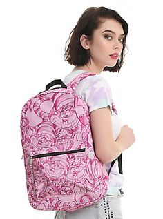 Loungefly Disney Alice In Wonderland Cheshire Cat Allover Print Backpack,