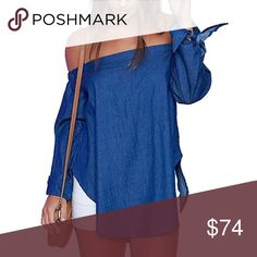 Denim Chambray Off Shoulder Tie Sleeve Loose Top On trend off shoulder style, cute tie details on the sleeves. Light denim chambray fabric, and the perfect length to pair with shorts, skirts, or pants! This cute boho blouse is a must have wardrobe staple.   ❌ Sorry, no trades.   fairlygirly fairlygirly Tops Blouses