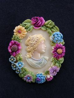Painted Flowers Celluloid Cameo