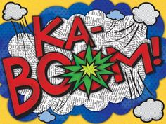 Buy your KaBoom! Canvas Wall Art by Oopsy Daisy here. Dress up a bare wall with the KaBoom! Canvas Wall Art from Oopsy Daisy. Canvas wall art is perfect for adding color and style to b Comic Book Style, Comic Books, Superhero Room, Art Lessons Elementary, Arts Ed, Baby Nursery Decor, Art Plastique, Humor, Comics