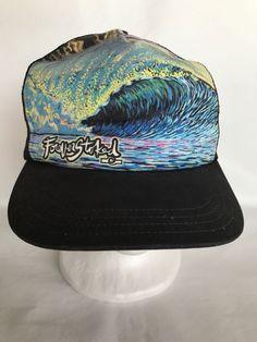 1eaf205ba10 Vintage Forever Stoked Skater Ocean Wave Black Mesh Snapback USA Hat Cap   UnionWear  TruckerHat