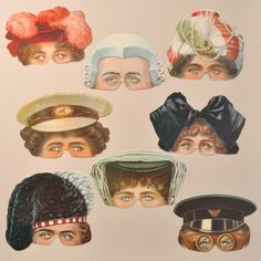 A set of eight attractive Victorian reproduction masks from the Victoria and Albert Museum. www.mamelok.com / facebook.com/MamelokPapercraft