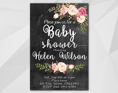 Watercolor Baby Shower Chalkboard Invitation by Digi Invites https://www.etsy.com/shop/DigiInvites/   **Text can be changed for any occasion **This listing is for a customi... #xb002c-1