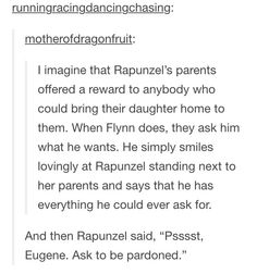 tangled reward for returning rapunzel Disney Pixar, Disney Tangled, Disney And Dreamworks, Disney Animation, Disney Magic, Walt Disney, Punk Disney, Tangled Funny, Disney Ships