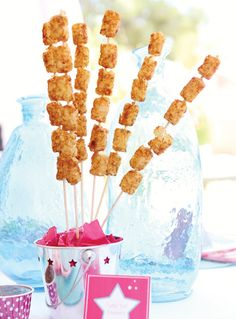 Simple & Sweet American Girl Birthday Party - LOVE the skewered tater tots and know the girls will too!