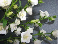 Купить Колокольчики из полимерной глины - белый, сиреневые цветы, сиреневый, сиреневый цвет, лиловый, колокольчики