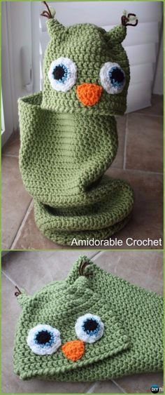 Crochet Baby Owl Cocoon and Hat Set Free Pattern - Crochet Snuggle Sack & Cocoon Free Patterns