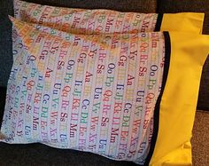 ABC Pillowcases with yellow cuff/ navy trim ABC- Alphabet pillowcase with yellow cuff Standard Size Cotton fabric