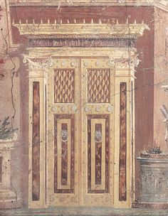 wall painting on Roman Villa of P. Fannius Synistor at Boscoreale, Italy - looks just like a real door.