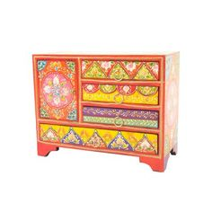 Colourful Hand Painted 4 Drawer and 1 Door Chest