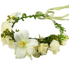 Only13$ - Flower Wreath Headband Floral Crown Garland Halo With Floral Wrist Band Set for Wedding Festivals and Maternity