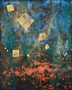 Soliloquies: Promise by Makoto Fujimura, mineral pigment and gold leaf on portrait linen, 60 x 48 inches
